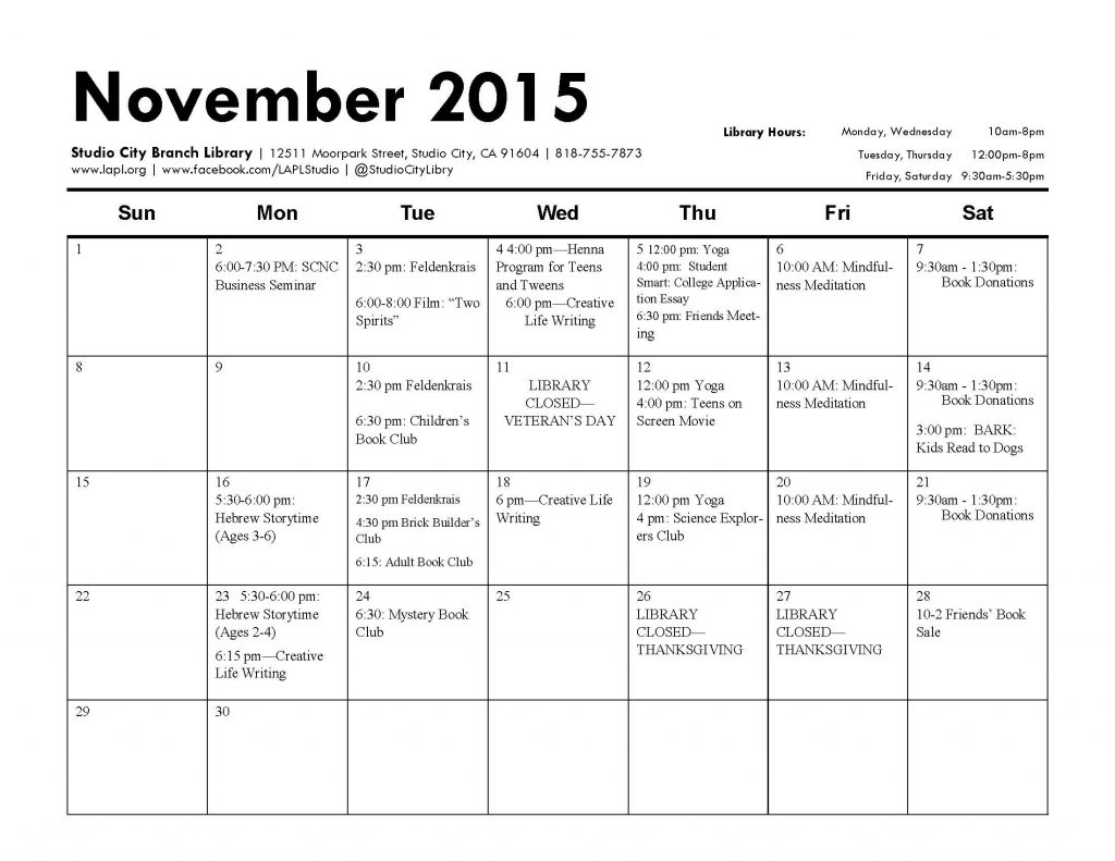 november cal of events1111111
