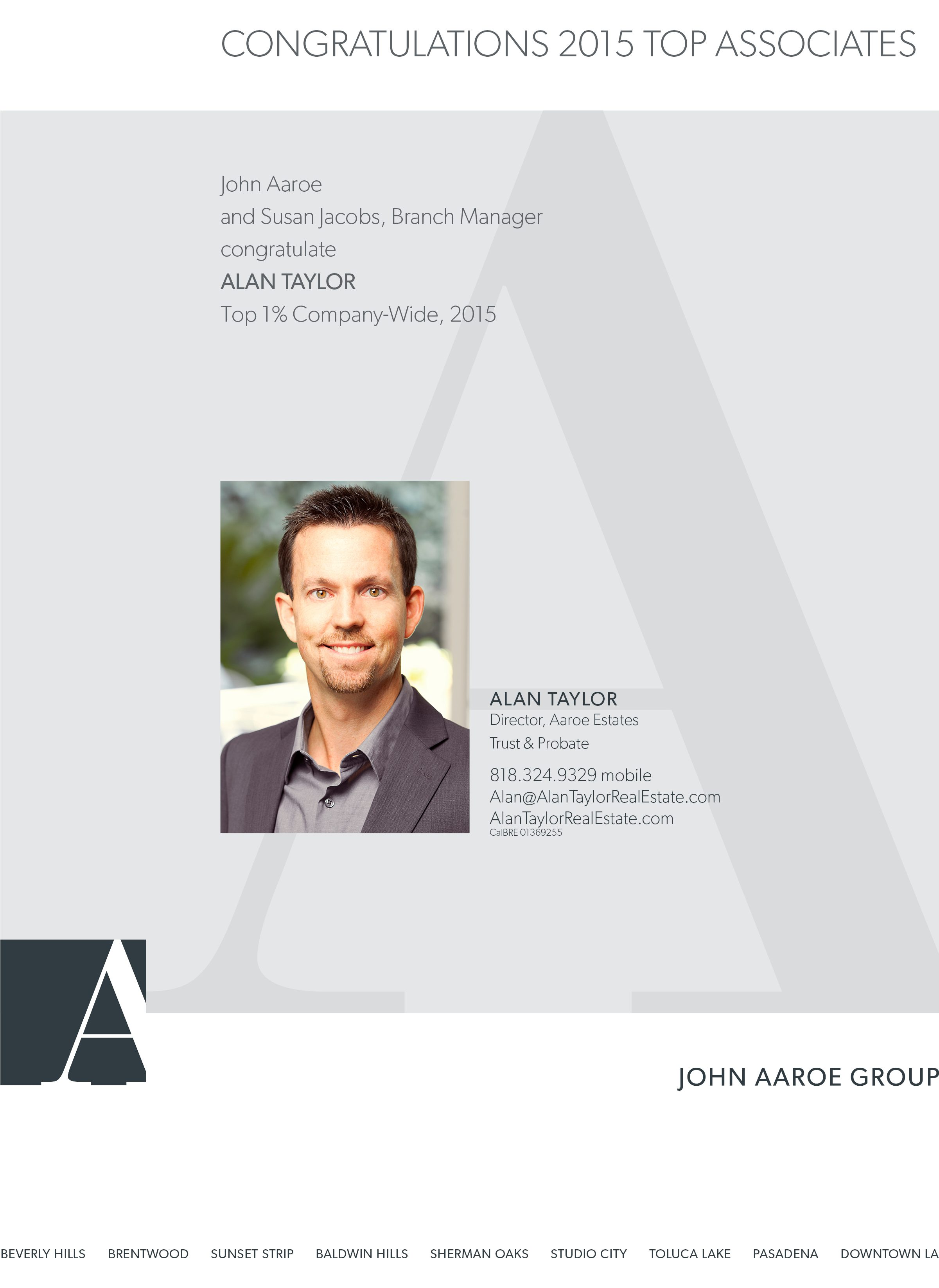 Alan Taylor, Top 1% Company-Wide, 2015